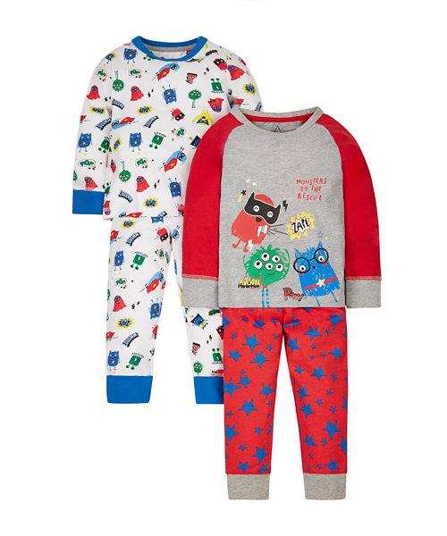 Superhero Monster Pyjamas - 2 Pack