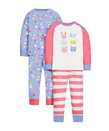 Cat And Bunny Pyjamas - 2 Pack