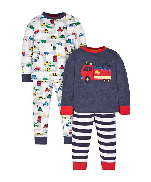Fire Engine Pyjamas - 2 Pack