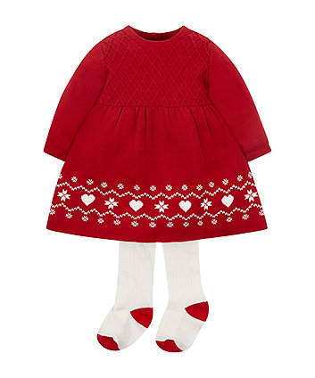 Red Knitted Dress And Tights Set