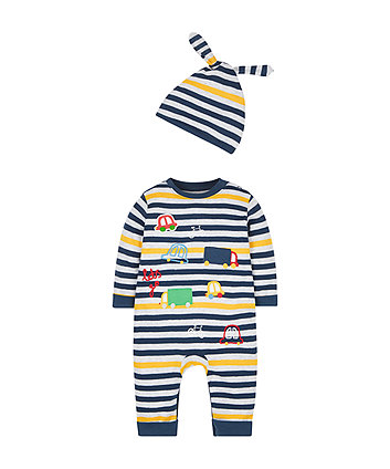 Navy Stripe All In One And Hat Set