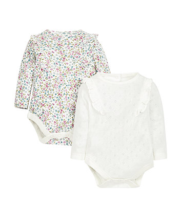 Floral And Ruffle Bodysuits - 2 Pack