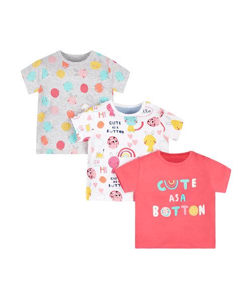 Cute As A Button T-Shirts - 3 Pack
