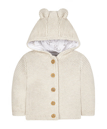 My First Oatmeal Knitted Hoodie -(9-12 months)