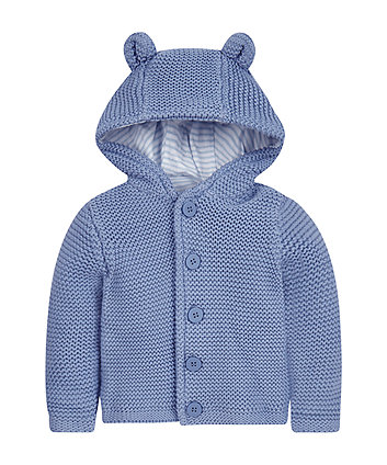 My First Blue Knitted Hoodie