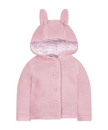 My First Pink Knitted Hoodie