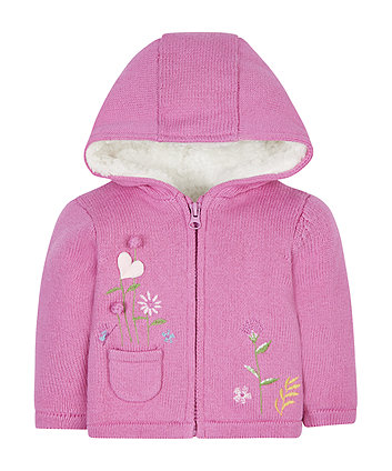 Pink Knitted Borg-Lined Hoody