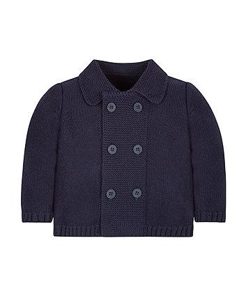 Navy Shawl Collar Cardigan