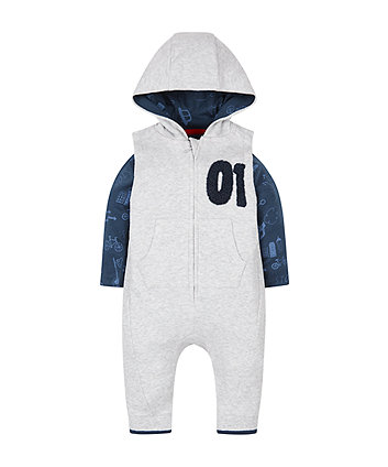 Grey Marl Hooded Dungarees And Top Set
