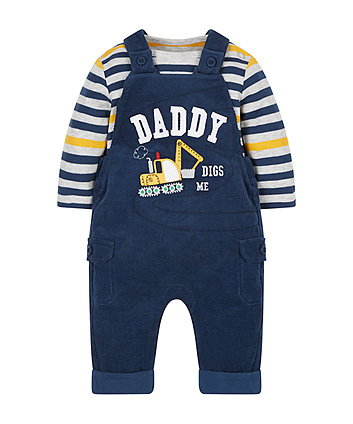 Navy Cord Dungaree And Top Set
