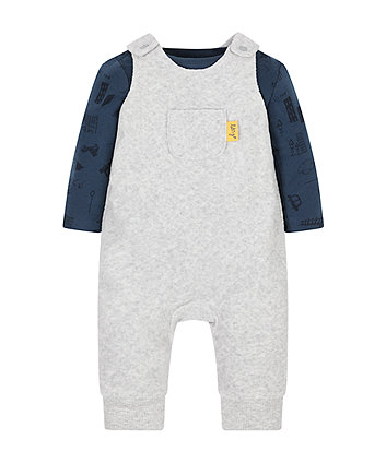 Navy Quilted Dungaree And Top Set