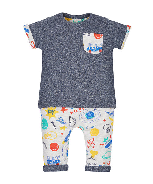 Doodle Reversible T-Shirt And Joggers Set