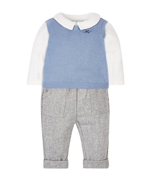 Knitted Tank Top, Bodysuit And Trouser Set