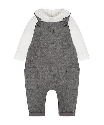 Grey Dungaree And Bodysuit Set