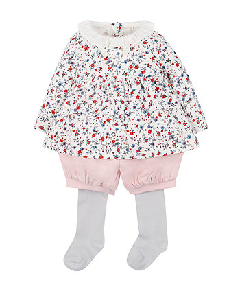 Ditsy Floral Blouse Shorts And Tights Set