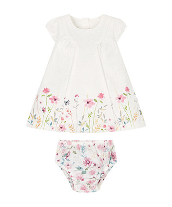 Textured Floral Dress And Knickers Set