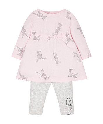 Pink Bunny Dress And Leggings Set