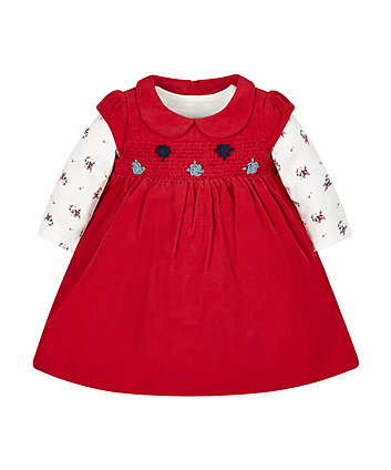 Red Cord Dress And Bodysuit Set
