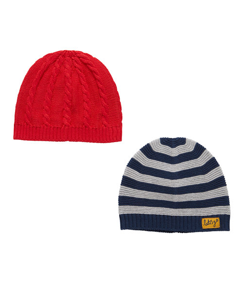 Red And Stripe Hats - 2 Pack