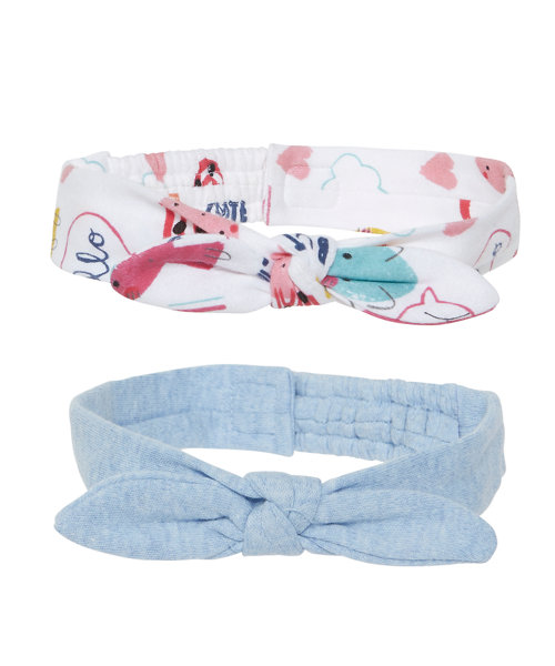 Blue And Print Headbands - 2 Pack