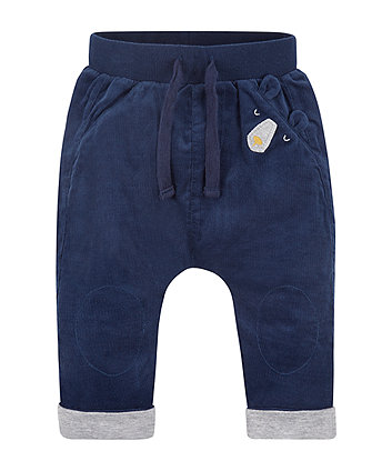 Navy Cord Jersey-Lined Trousers