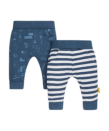 Stripe And Print Leggings - 2 Pack