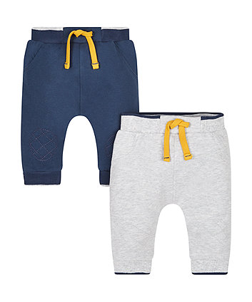 Navy And Grey Quilted Knee Patch Joggers - 2 Pack
