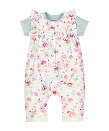 Floral Dungarees And Bodysuit Set