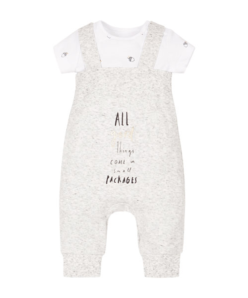 Small Packages Bodysuit And Dungaree Set