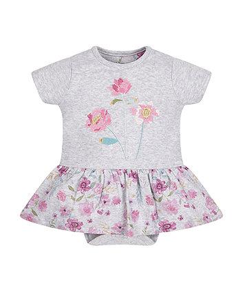 Grey Floral Romper Dress