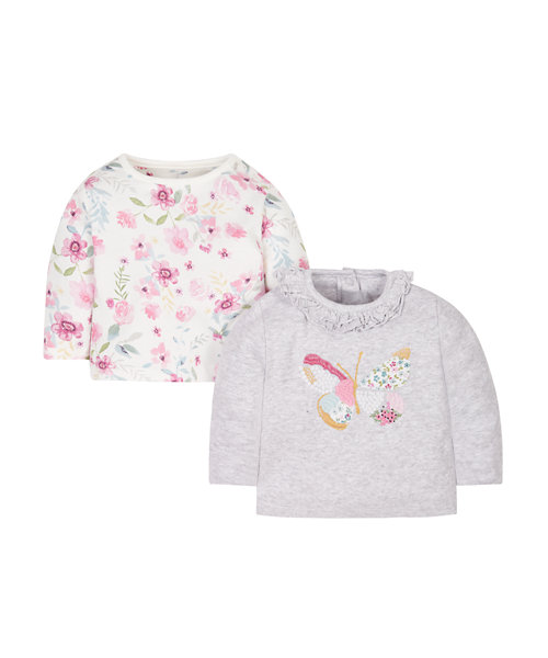 Floral And Butterfly Tops - 2 Pack