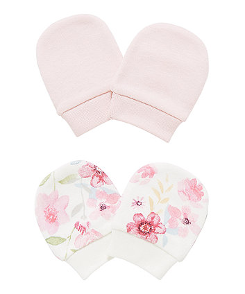 Floral Pink Scratch Mitts - 2 Pack