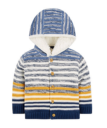 Striped Borg Lined Cardigan
