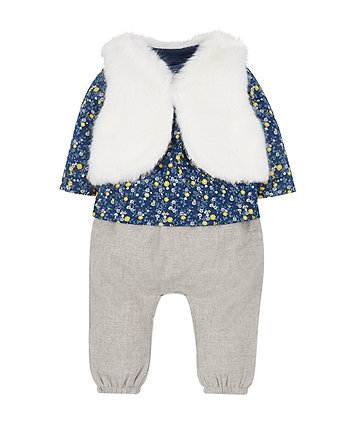 Trousers, Top And Gilet Set