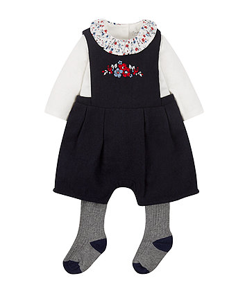 Navy Embroidered Bibshorts Bodysuit And Tights Set