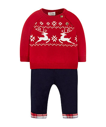 Knitted Jumper And Cord Trousers Set