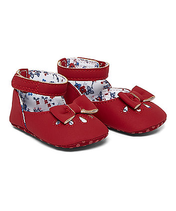 Red Punch Out Ballerina Pram Shoes