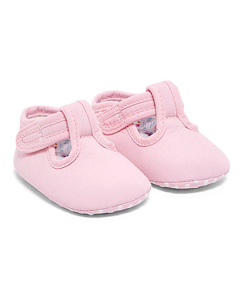 Pink Floral Lined T-Bar Pram Shoes