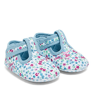Blue Floral T-Bar Pram Shoes