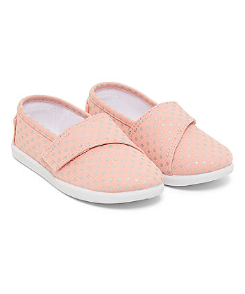 Pink Metalic Spot Canvas Shoes