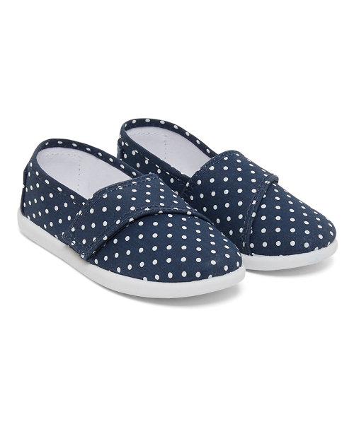 Navy Polka Dot Canvas Shoes