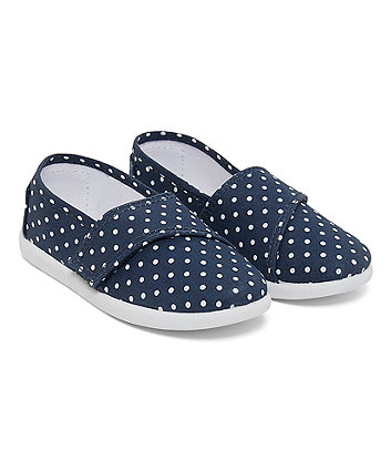 Navy Polka Dot Canvas Shoes