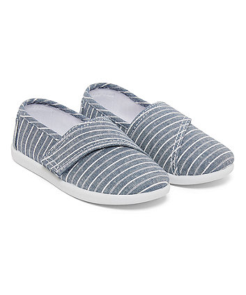 Blue Canvas Stripe Shoes