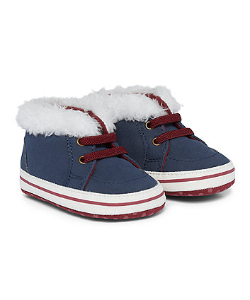 Faux Fur Lined Navy Trainers