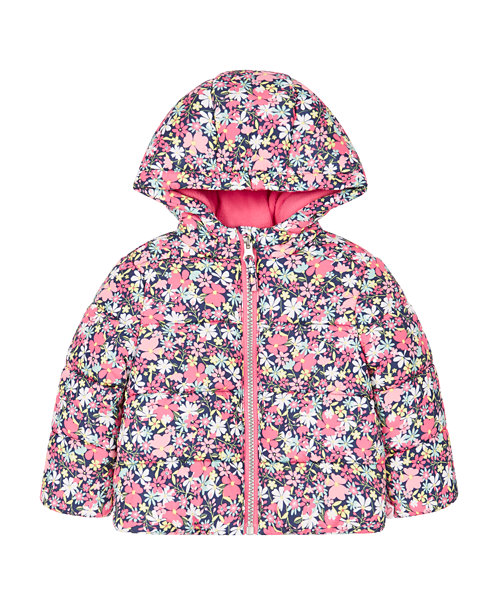 Navy Floral Padded Jacket