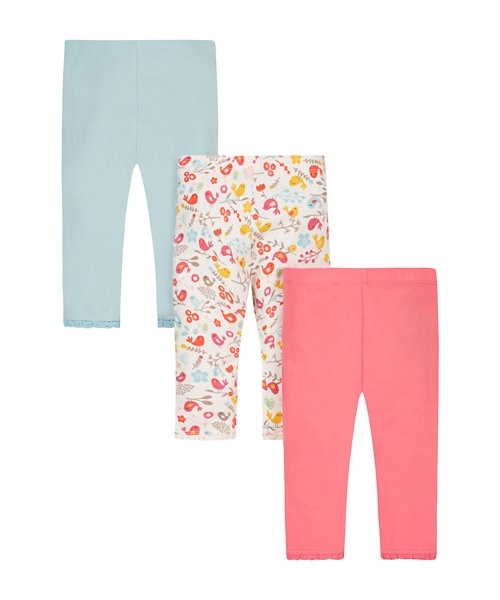 Pink And Blue Bird Leggings - 3 Pack