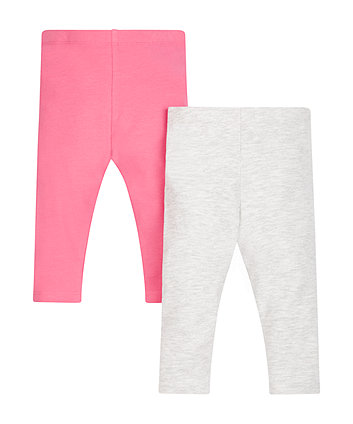 Bright Pink And Grey Leggings - 2 Pack