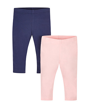 Pale Pink And Navy Leggings - 2 Pack