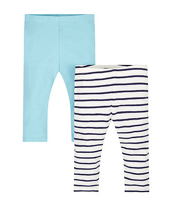 Blue And Striped Leggings - 2 Pack
