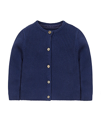 Navy Ribbed Cardigan